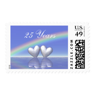 25th Anniversary Silver Hearts Postage Stamps