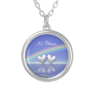 25th Anniversary Silver Hearts Round Pendant Necklace