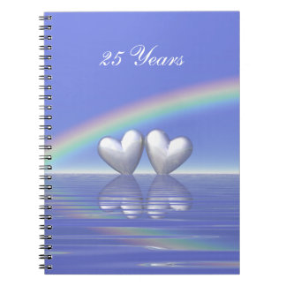 25th Anniversary Silver Hearts Spiral Notebook