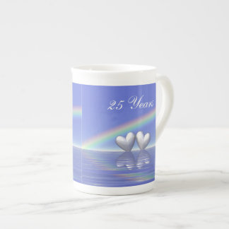 25th Anniversary Silver Hearts Tea Cup