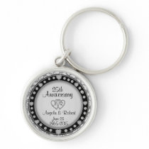 25th Anniversary Silver Keychain