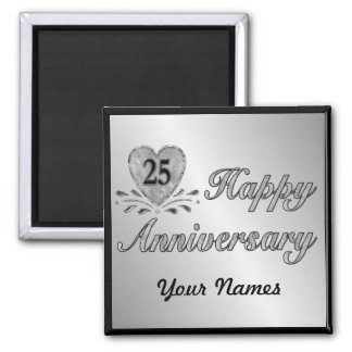 25th Anniversary - Silver Refrigerator Magnets
