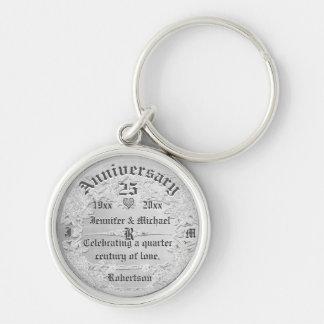 25th Anniversary Silver Monogram Keychain