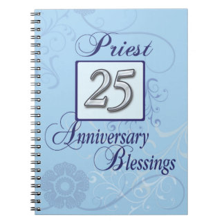 25th Anniversary Silver Number on Blue Spiral Notebook