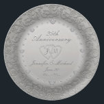 """25th Anniversary Silver Plate<br><div class=""""desc"""">1sr,  5th,  10th,  25th Anniversary etc.,  this anniversary plate can be customized with years married (Or Together),  initials of the couple,  dates and names. Silver Plate with Diamonds Personalized Plate from AZEZ.com. Note: This is a graphic artwork and contains no real diamonds or silver.</div>"""