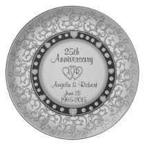 25th Anniversary Silver Plate with Diamonds