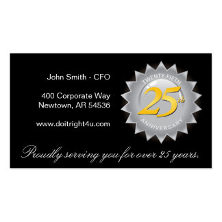 25th Anniversary Silver Seal Business Cards