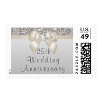 25th Anniversary Silver Sequins Champagne Bow Postage