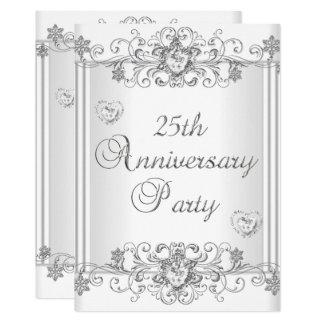 25th Anniversary Silver White Diamond Hearts 2 Invitation