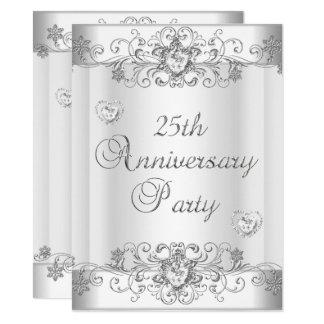 25th Anniversary Silver White Diamond Hearts Invitation