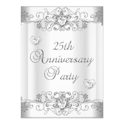 25th Anniversary Silver White Diamond Hearts Invite