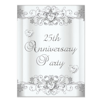 "25th Anniversary Silver White Diamond Hearts 5.5"" X 7.5"" Invitation Card"