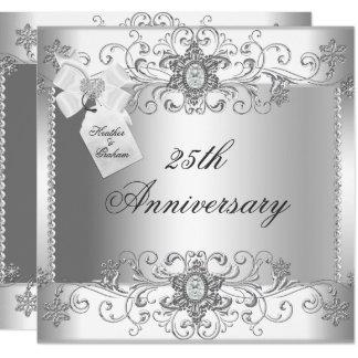 25th Anniversary Silver White Diamond Invitation