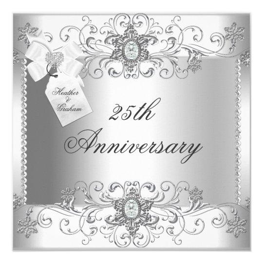 25th Wedding Anniversary Invitation Cards For Parents: 25th Anniversary Silver White Diamond Invitation