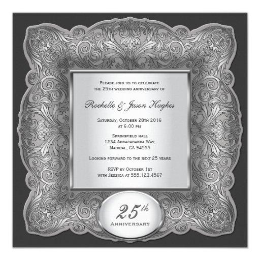 25th Anniversary Square Silver Invitation