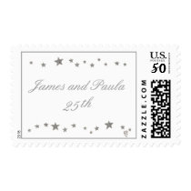 25th Anniversary stamps, silver stars template Postage