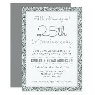 25th Anniversary Surprise | Faux Silver Glitter Invitation