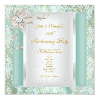 25th Anniversary Teal Damask Silver White 2 Invitation