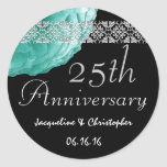 25th Anniversary TEAL SILVER BLACK Rose Sticker