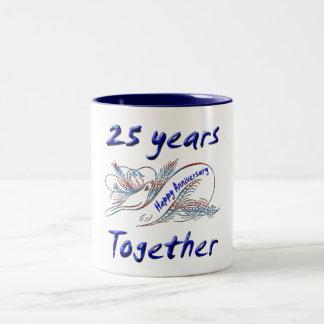 25th. Anniversary Two-Tone Coffee Mug