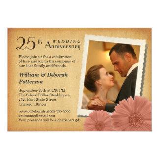 25th Anniversary Vintage Daisy Photo Invitations