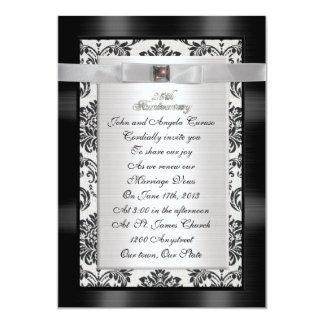 25th Anniversary vow renewal damask Card