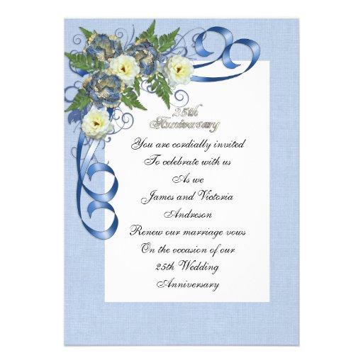 25th Anniversary vow renewal elegant floral Invitations ...