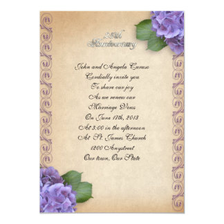 25th Anniversary vow renewal hydrangea floral Card