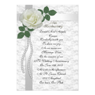 25th Anniversary vow renewal Invitation White rose