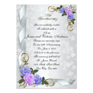 25th Anniversary vow renewal Lavender & blue roses 5x7 Paper Invitation Card