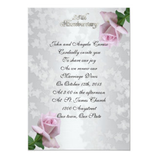 25th Anniversary vow renewal lavender roses Card