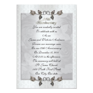 25th anniversary Vow renewal silver roses formal Card