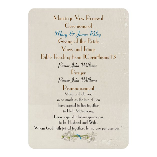 25th Anniversary Vow Renewal Wedding Program Card | Zazzle