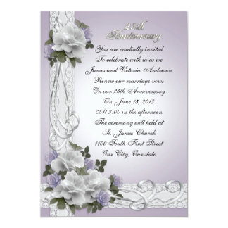 25th Anniversary vow renewal white roses Card