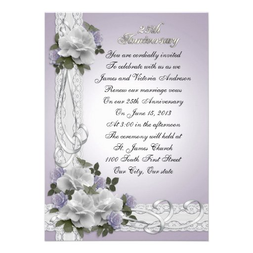 25th Anniversary vow renewal white roses Invitations