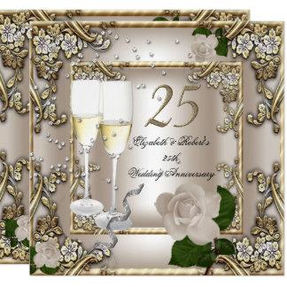 25th Anniversary Wedding Cream Gold Rose Silver Card