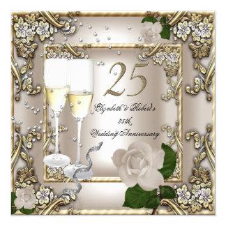 25th Anniversary Wedding Cream Gold Rose Silver 5.25x5.25 Square Paper Invitation Card