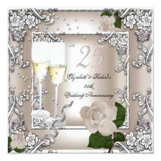 25th Anniversary Wedding Cream Rose Silver Invitation