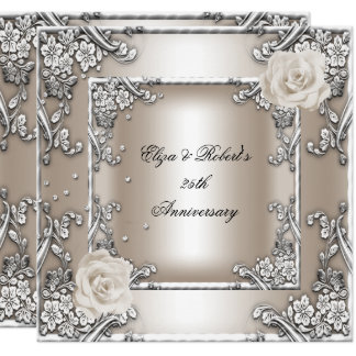 25th Anniversary Wedding Cream Rose Silver Party Card