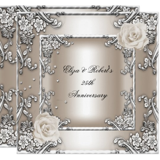 25th Wedding Anniversary Invitations: 25th Anniversary Wedding Cream Rose Silver Party