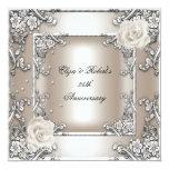 """25th Anniversary Wedding Cream Rose Silver Party 5.25"""" Square Invitation Card"""