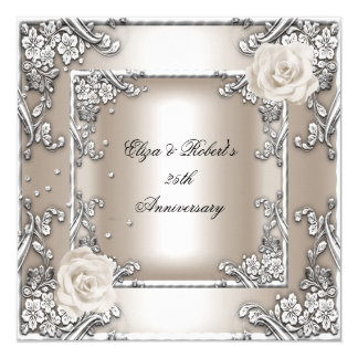 "25th Anniversary Wedding Cream Rose Silver Party 5.25"" Square Invitation Card"