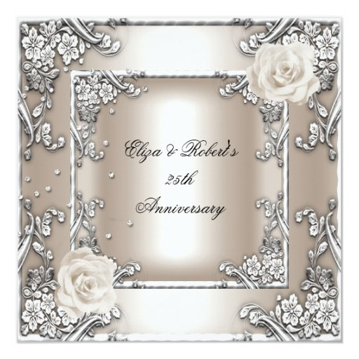 Wedding Gifts For 25th Anniversary : 25th Anniversary Wedding Cream Rose Silver Party Invitations Zazzle