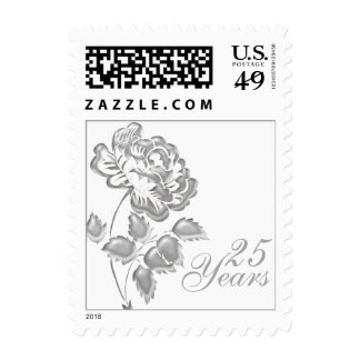 25th Anniversary White and Silver Floral Postage