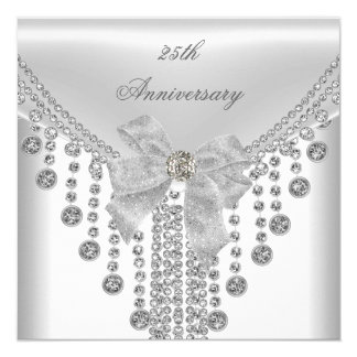 25th Anniversary White Silver Overlay Bow Jewel Card