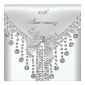 "25th Anniversary White Silver Overlay Bow Jewel 5.25"" Square Invitation Card"
