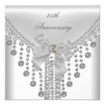 25th Anniversary White Silver Overlay Bow Jewel 5.25x5.25 Square Paper Invitation Card