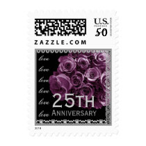 25th  Anniversary WINE Roses SILVER Lace Postage