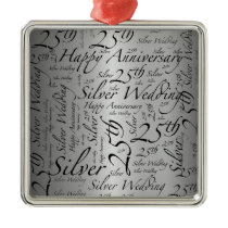 25th Anniversary Word Art Graphic Metal Ornament