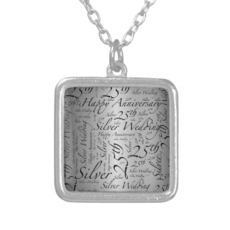 25th Anniversary Word Art Graphic Silver Plated Necklace